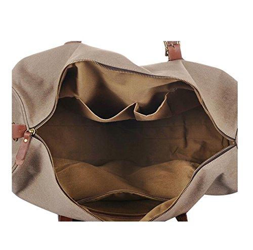 LF&F 30-35L KapazitäT EuropäIscher Stil Leinwand / Leder GepäCktasche Reisetasche Handtasche Schulter Messenger Bag Multifunktions-Outdoor Bergsteigen Fitnessraum Rucksack C