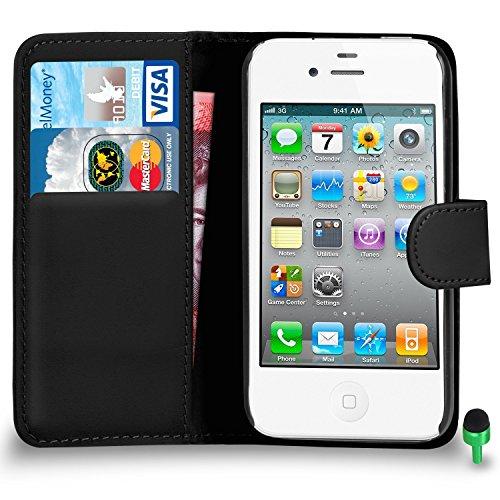 POUR Apple iPhone 4 / 4S - SHUKAN® Prime Cuir VIOLET Portefeuille Cas Coque Couverture VERT Cap NOIR