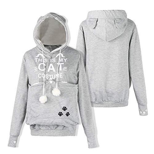 CICOCO Tolles Kostüm Für Jeden Tag Womens Sweatshirt, Plus Size Cat Brief Print Pullover Dicker Samt Pullover Pullover Tops mit Tasche (Farbe : White, Größe : - Plus Womens Kostüm