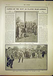 SCULPTEUR ÉCOSSAIS 1902 DU GOLF RODIN DE TRONC DE SPORT DE JEUX