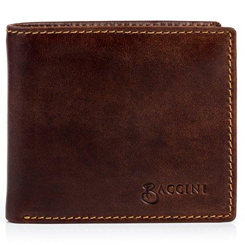 BACCINI® porte-monnaie LEANDRO homme - grand portemonaie style Vintage - portefeuille homme Vintage-marron-contraste en cuir véritable
