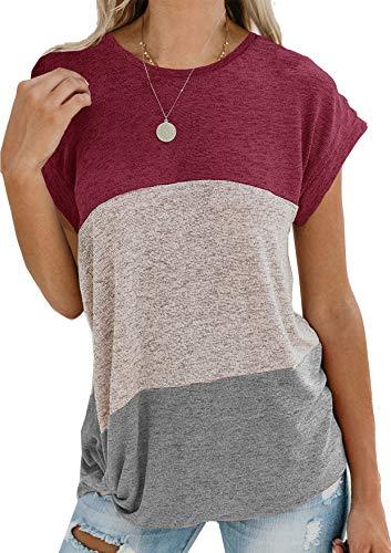 Yidarton Damen Kurzarm T-Shirt Casual Patchwork Sommer Lose Shirt Asymmetrisch Oversize Oberteile (T-shirt Frauen Heiße)
