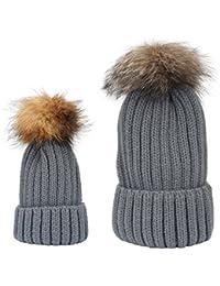TININNA Autunno e Invernale Caldo Carino addensare Madre e figlia Lavorato  a maglia Cappello di lana 5cd9efcf9aa1