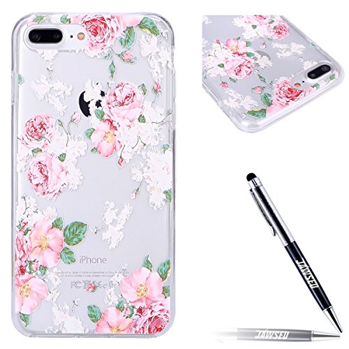 JAWSEU Coque pour iPhone 7,iPhone 7 silicone Etui Transparent,iPhone 7 TPU Case Rose Or,2017 Neuf Design Pailletee Sparkle Glitter Flash Diamant Strass Placage Soft Gel Protective Case Cover Ultra Sli Roses