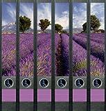 6er Set Ordnerrücken für schmale Ordner Provence Lavendel Ordner Aufkleber Etiketten Deko 605