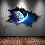SPACE PLANETS UNIVERSE GALAXY WORLD CRACKED 3D - WALL ART STICKER BOYS DECAL MURAL NEW7