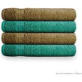 Swiss Republic Signature 630 GSM Hand Towels Set of 4 (Dark Brown/Green)