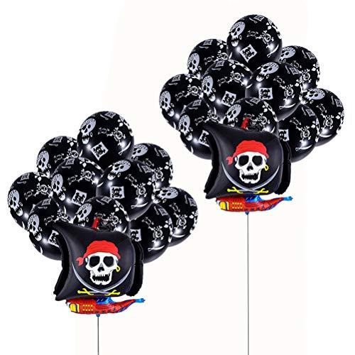 NUOBESTY Favores de la Fiesta Pirata - 2 Piezas de Globo de Papel Aluminio de Barco Pirata y 24 Piezas de Globo de látex Pirata - Negro