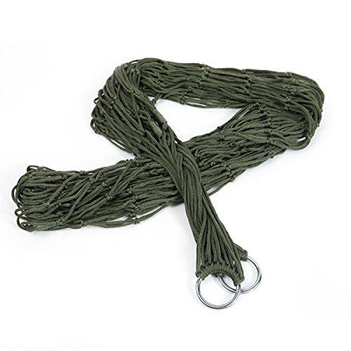 NIUHUIRU Campeggio Esterna Grassetto Esercito Rete Di Nylon Verde Corda Amaca Singola Persona,MilitaryGreen