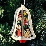 ALILEO 1 Christbaumschmuck Hängen Weihnachtsbaum Glocke Stern 3D Tropfen Ornamente Hochwertige Holz Anhänger Dekoration Für Home Shop, Glocke X1