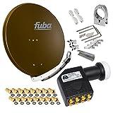 FUBA 85cm für 8 Teilnehmer (Direktanschluss) Digital SAT Anlage DAA850B + Octo LNB schwarz 0,1dB FULL HDTV 4K 3D + 16 Vergoldete F-Stecker und F- Montageschlüssel gratis dazu