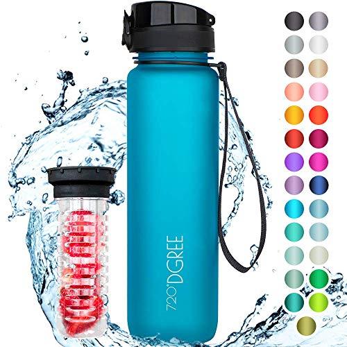 """720°DGREE Trinkflasche \""""uberBottle\"""" +Früchtebehälter - 1L - BPA-Frei - Wasserflasche für Uni, Sport, Fitness, Fahrrad, Outdoor - Sportflasche aus Tritan - Leicht, Bruchsicher, Nachhaltig"""