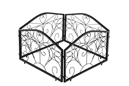 CLP 4er-Set Beetzaun Collin aus massivem Eisen I Beeteinfassung aus lackiertem Eisen mit stilvollen Verzierungen Schwarz