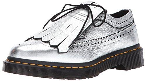Dr.Martens Womens 3989 Metallic Kiltie Silver Leather Shoes 39 EU Martens 3989 Wingtip