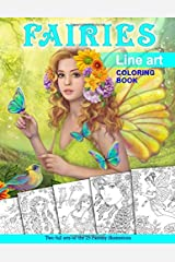 Fairies. Line Art Coloring Book: Coloring Book for Adults Broché
