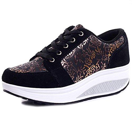 53ae27f1050c73 Solshine Damen Fashion Plateau Schnürer Sneakers mit Keilabsatz Walkmaxx  Schuhe Fitnessschuhe
