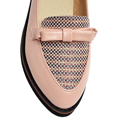 VogueZone009 Damen Weiches Material Niedriger Absatz Ziehen Auf Spitz Zehe Pumps Schuhe Pink