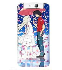 Printvisa Animated Rmantic Couple In A Flower Shower Back Case Cover for Oppo N1