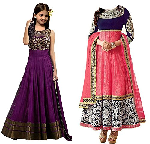 Market Magic World Girl\'s Banglori & Net Semi Stitched Kids Wear Salwar Suit (Gown)(MMW-09017_Purpel & Pink_Free Size_8 to 12 year age)