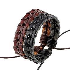 Idea Regalo - Lameida braccialetto intrecciato in pelle bovina cuoio multistrato cuciture uomini e donne coppie Personality Wild Fashion 17cm