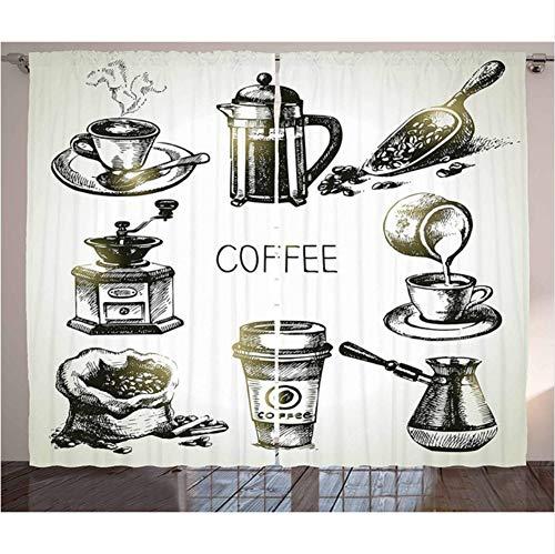 WKJHDFGB Kaffee Vorhänge Brauen Ausrüstung Doodle Sketch Grinder Französisch Presse Plastikbecher Scoop Vintage Wohnzimmer Schlafzimmer Fenster Vorhänge,215X260Cm -