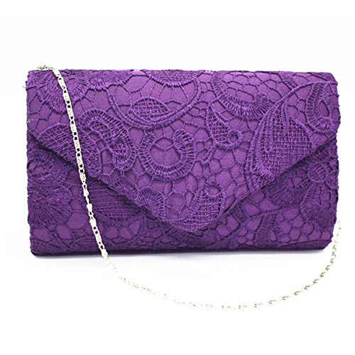 Spitze Dekorative Muster Umschlagbeutel Abendtasche Handtasche Multicolor Purple