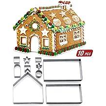 ZOEON Moldes para Galletas de Navidad, 3D Cortador de Galletas de Forma de Casa de