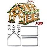 ZOEON Weihnachts-Ausstechformen, 3D Lebkuchenhaus Ausstechformen - Aus Edelstahl
