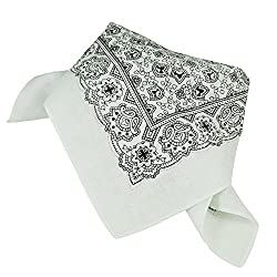 White & Black Paisley Patterned Bandana Neckerchief by Ties Planet