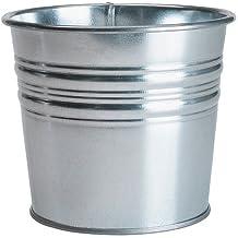 Maceta para interiores y exteriores–Maceta de acero galvanizado, plata