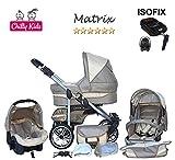 Chilly Kids Matrix II Kinderwagen Safety-Mega-Set (Winterfußsack, Sonnenschirm, Autositz & ISOFIX Basis, Regenschutz, Moskitonetz, Schwenkräder) 02 Beige & Creme