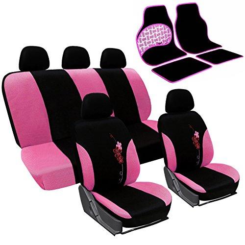 WOLTU 7286+AM7151 Auto Schonbezug Schonbezüge für PKW ohne Seitenairbag Fußmatten rosa