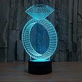 3D Nachtlichter Kreative 7 Farben Ändern 3D Led Neuheit Diamant Ring Tischlampe Nachtlicht Stimmung Hochzeit Schlafzimmer Dekor Romantische Geschenke