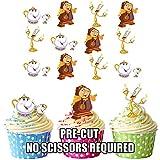 Soggetto: Disney La Bella e la Bestia carattere mix-commestibile topper per cupcake/decorazioni per torte (confezione da 12)
