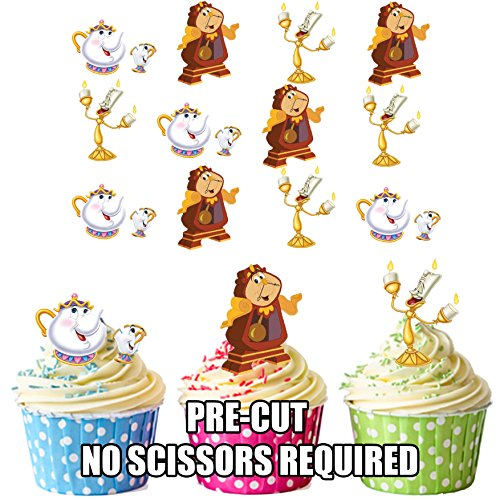 vorgeschnittenen Disney Beauty und The Beast Charakter Mix–Essbare Cupcake Topper/Kuchen Dekorationen (12Stück)