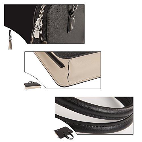 YAAGLE Echtes Leder Herren Business Taschen Rindleder Handtasche Hit Farbe Schultertasche Aktentasche Reisetasche-weiß gelb