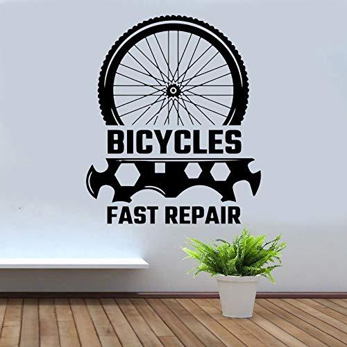 jiuyaomai Fahrradgeschäft Wandtattoo Fensteraufkleber Vinyl Wohnkultur Freestyle Dirt Bike Reifen Werkzeug Werkstatt Wandbild Removable Wallpaper braun 42x50cm