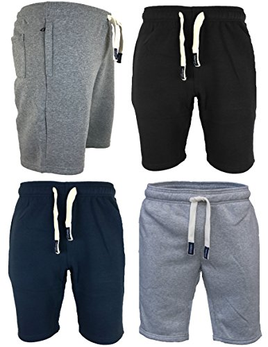 Mens Sweat Summer Jogger Plain Fleece Jersey Jogging Gym Shorts Zip Pockets S-XXL
