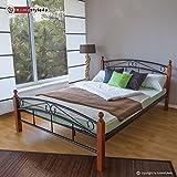 Homestyle4u 605 Metallbett 180 x 200 Schwarz mit Lattenrost Doppelbett 180 x 200 Bett Metall mit Holzpfosten Braun Bettgestell 180x200 Bettrahmen Schlafzimmer 8077