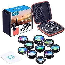 Apexel Kit d'objectifs 10 en 1 pour téléphone Objectif Grand Angle, Objectif Macro, Objectif fisheye, téléobjectif kaléidoscope 3/6 CPL/Flow/Star/Radial Filtre à Clipser pour iPhone, Samsung