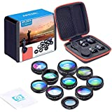 Apexel 10 in 1 Phone Camera lens kit Wide Angle lens, Macro lens, Fisheye lens, Telephoto lens, Kaleidoscope 3/6 lens CPL/Flow/Star/Radial Filter Clip-on Phone for iPhone Samsung Most of Smartphone