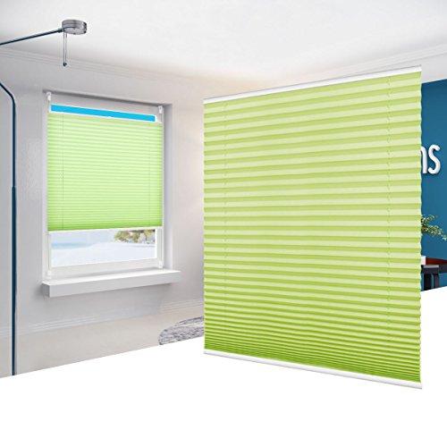 Estor Plisado sin Taladrar Easy Fix Persianas Cortina Plisada para Puerta de Patio Verde 70 x 130 cm(BxH)