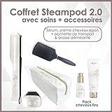 L'oreal - Pack Fins Steampod 2.0 trousse glossy + brosse démêlante - fer à lisser vapeur nouvelle génération + Sérum + Creme de lissage cheveux fins + trousse glossy de rangement + brosse hairprice démêlante
