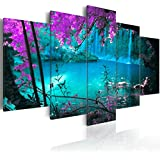 Cuadro 200x100 cm - 3 tres colores a elegir - 5 Partes - Formato Grande - Impresion en calidad fotografica - Cuadro en lienzo tejido-no tejido - lago Aquafall c-A-0002-b-o 200x100 cm B&D XXL