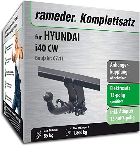 Rameder Komplettsatz, Anhängerkupplung abnehmbar + 13pol Elektrik für Hyundai i40 CW (150804-09650-1)