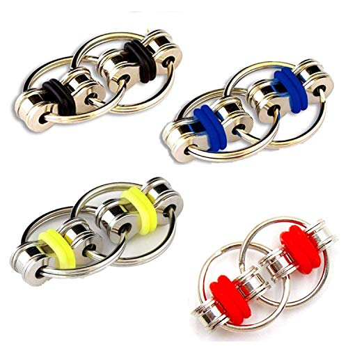 Topways® Flippy Chain Fidget Toy - Perfect for ADHD, Anxiety, and Autism - Bike Chain Fidget Toy Stress Reducer for Adults and Kids (4 Pack)