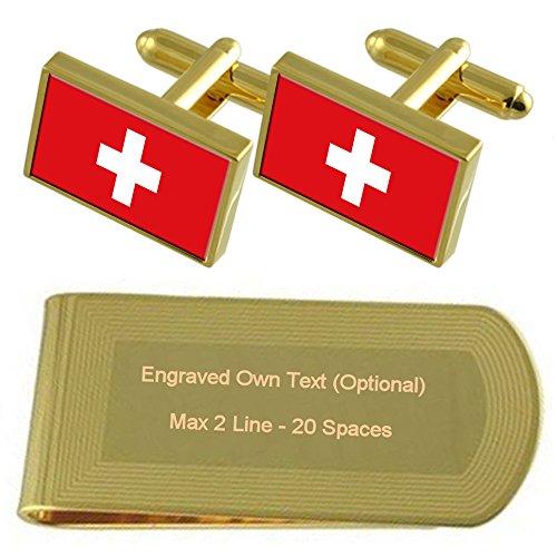 Schweiz Flagge Gold-Manschettenknöpfe Geldscheinklammer Gravur Geschenkset
