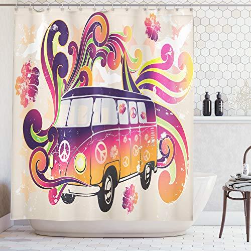ABAKUHAUS Duschvorhang, Illustration Hippie VW T1 Bus Warme Bunte Farbtöne Creme Hintergrund Volkswagen Digital Druck, Blickdicht aus Stoff inkl. 12 Ringen Umweltfreundlich Waschbar, 175 X 200 cm