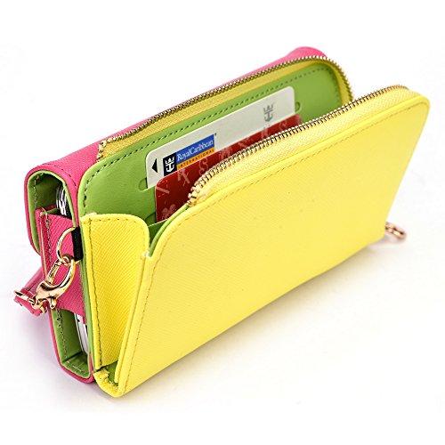 Kroo d'embrayage portefeuille avec dragonne et sangle bandoulière pour Archos 50b Platinum Black and Orange Magenta and Yellow