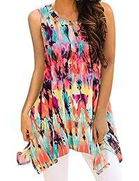DOGZI Blusas para Mujer Verano para Mujer Verano Camisa de Manga Corta con  Estampado de Gasa 101494d62de